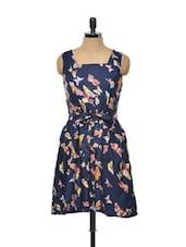 Butterfly-print Navy Blue Dress - Tapyti