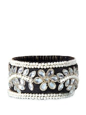Black And White Bangle With Stones And Faux Pearls - Blingles