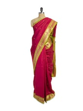 Red Handloom Silk Saree With Zari Border - Pratiksha
