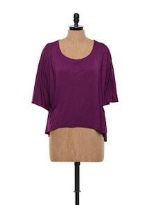 Cool And Casual Wine Cotton Knit Top - Gritstones