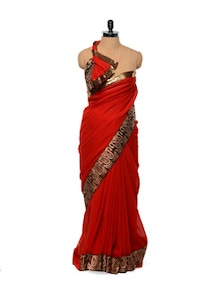 Red And Gold Border Saree - Get Style At Home