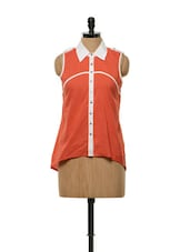Sporty Red Cotton Shirt Top - Mishka