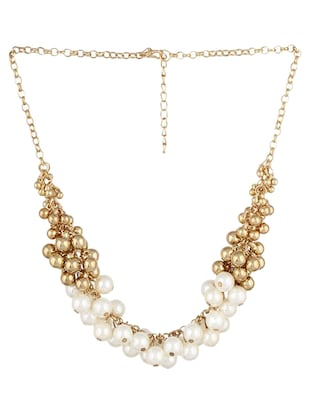 Golden beads and faux pearl cluster chunky neckpiece -  online shopping for Necklaces