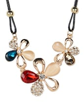 Trio Crystal And Stone Studded Flower Choker Necklace - Fayon