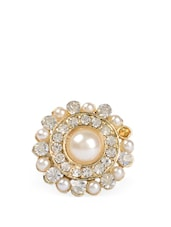 Faux Pearls And Crystal Studded Adjustable Ring - Fayon