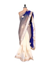 Ivory And Royal Blue Georgette Saree - Vishal Sarees