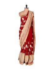 Maroon Saree With Beige And Gold Details - Vishal Sarees