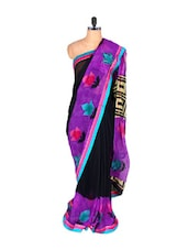 Purple And Black Satin Saree - Vishal Sarees