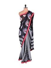 Red Border Dotted Monochrome Saree - Vishal Sarees
