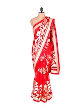 Floral Red And Cream Georgette Saree - Vishal Sarees