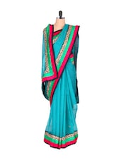 Net Saree With Zari Detailed Border - Vishal Sarees