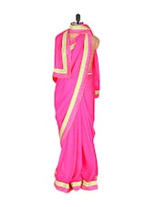 Bright Pink Glossy Georgette Saree - Vishal Sarees