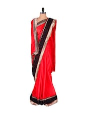 Sizzling Red Saree With Black Lace - Vishal Sarees