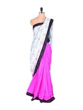 Art Silk Saree With Floral Print - Vishal Sarees