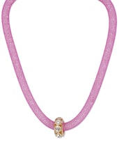 Shimmery Purple Stretchable Necklace With Crystal Pendant - CIRCUZZ