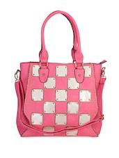 Metal Block Pink Check Handbag - Lalana