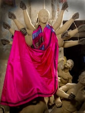 Deep Onion Pink Raw Jute Silk Saree - Cotton Koleksi