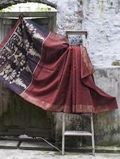 Rust Matka Resham Silk Saree With Black Stripes - Cotton Koleksi