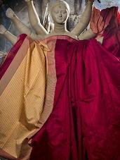 Maroon Matka Silk Saree With Resham Border - Cotton Koleksi