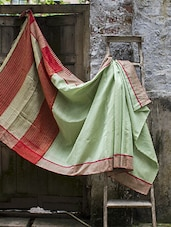 Muted Pista Green Matka Silk Saree With Striped Aanchal - Cotton Koleksi