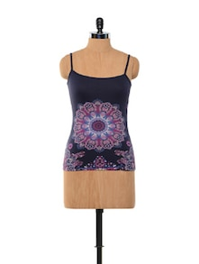 Blue Flower Print Camisole - Kaxiaa