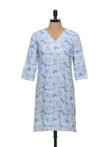 Blue Floral Print Kurta - Overdrive