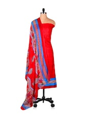 Red Unstitched Salwar Suit Set - Riti Riwaz