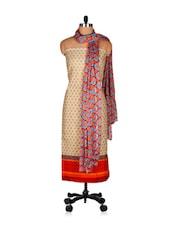 Nice Brown Unstitched Salwar Suit Set - Riti Riwaz