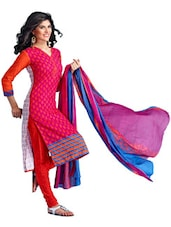 Pink Cotton Unstitched Dress Material - Ethnic Vibe