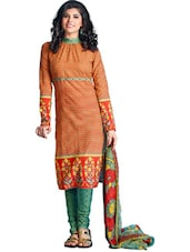 Floral Print Unstitched Cotton Dress Material - Ethnic Vibe