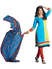 Multicolored Unstitched Dress Material - Ethnic Vibe