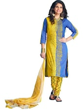 Blue & Yellow Cotton Unstitched Dress Material - Ethnic Vibe