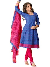 Pretty Blue & Pink Unstitched Dress Material - Ethnic Vibe
