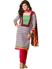 Cotton Multicolored Unstitched Dress Material - Ethnic Vibe