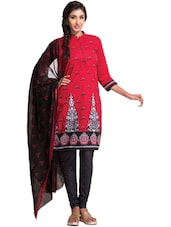 Designer Red Unstitched Dress Material - Ethnic Vibe