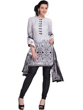 Printed Black & White Unstitched Dress Material - Ethnic Vibe