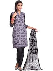 Printed Purple Unstitched Dress Material - Ethnic Vibe