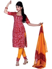 Festive Bandhani Print Unstitched Dress Material - Ethnic Vibe