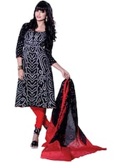 Black &Red Bandhani Print Unstitched Dress Material - Ethnic Vibe