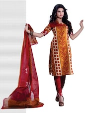 Yellow & Red Bandhani Print Unstitched Dress Material - Ethnic Vibe