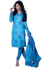 Aqua Blue Bandhani Print Unstitched Dress Material - Ethnic Vibe