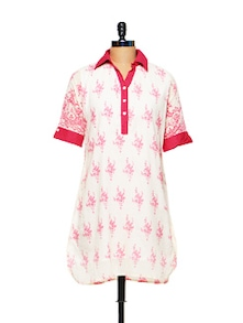White And Pink Printed Kurti - Lyla