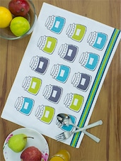 White Base Blue And Lime Green Jar Print Cotton Place Mats  (set Of 4) - Home Colors