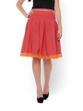 Embroidered Peach Knee Length Skirt - Lyla