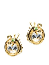 Gold Plated Stud Earrings - Golden Peacock