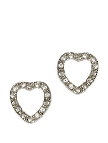 Silver Plated Heart Studs - Golden Peacock