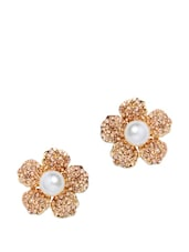 Gold Plated Floral Earrings - Golden Peacock