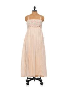 Embroidered Peach Maxi Dress - Lyla