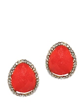 Coral Red Stud Earrings - Golden Peacock