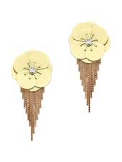 Beige & Gold Plated Drop Earrings - Golden Peacock